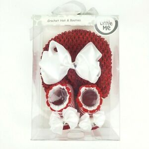 Little Me Crocheted Baby Red White Beanie Hat & Booties up to 12 mos Christmas
