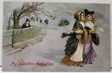 Valentine's Pilgrims Beautiful Children Embossed Silver Finish Postcard D18