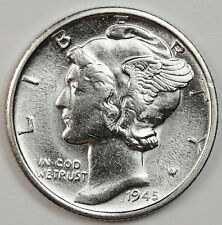 1945-s Mercury Head Dime. 66% Fully Separated Horizontal Band's.   High Grade.