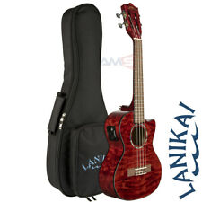 NEW Lanikai QM-RDCET Quilted Maple Red Tenor Acoustic Electric Ukulele + Bag