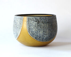 Textured Studio Pottery Stoneware Bowl with Dipped Glazes - Brian Paul Bearne?