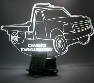 Flatbed Tow Truck Light Up Personalized Lamp LED Engraved Company Name W/ Remote