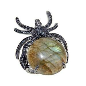 HSN Rarities Fine Jewelry Labradorite and Gemstone Sterling Silver Spider Ring