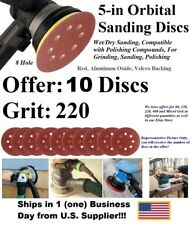 "Round Hook & Loop Sanding Disc-Red, Alum Oxide, Size 5"", Grit/Qty Varies-Orbital"