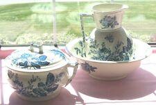 DUNN BENNETT & CO ENGLAND FLOW BLUE THE ROSE PAT WASH BOWL PITCHER CHAMBER POT
