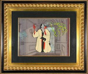 Disney Cel Cruella DeVil 101 Dalmations Villains Portfolio Rare Animation Cell