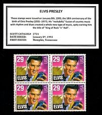 1993 - Elvis Presley Mint Never Hinged Block of Four Postage Stamps