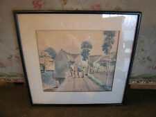 Southeast Asian Artist Suritah Signed Watercolor Painting of People in Village
