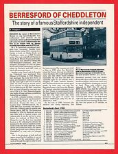 Buses Magazine Extract ~ Berresfords of Cheddleton - History: PMT Takeover: 1988