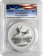 2016-P Silver Pearl Harbor 75th Anniv 1oz PCGS MS70 with CoA & Display Stand!