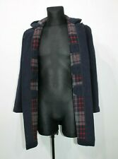 GLOVERALL Men's Blue Duffle Wool Coat Made In England SIZE GB 34 EUR 44 Small