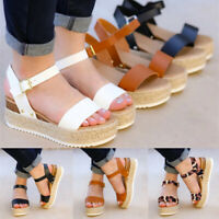 Women's Ankle Strap Flatform Wedges Shoes Espadrilles Summer Platform Sandals