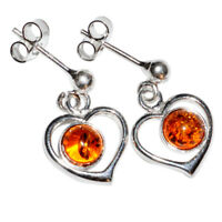 3.1g Heart Authentic Baltic Amber 925 Sterling Silver Earrings Jewelry N-A5348B