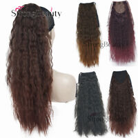Long Yaki Curly Wavy Wrap Around Ponytail Hair Extensions Clip in Hairpieces