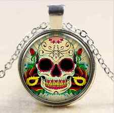 Glass Chain Pendant Necklace m4, Vintage Candy Skull Cabochon Tibet silver