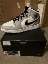 Nike Air Jordan 1 Mid GS Light Smoke Grey Black White 554725-092 SZ 6.5Y IN HAND