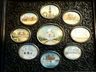 19th Century Anglo Indian Ebony Wood Collage - 9 Miniature Paintings Taj Mahal