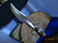 "16 1/4"" OLE SMOKY CUTLERY BOWIE KNIFE STAG HANDLE 11 1/4"" 440A BLADE EDGE"