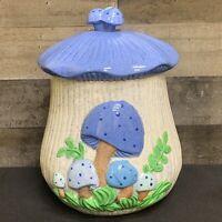 """1970's Vintage Arnel Blue Mushroom Ceramic Canister Cookie Jar 11 3/4"""" Tall"""