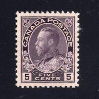 Canada Sc #112iii (1924) 5c Grey Violet Admiral Redrawn Frameline VF