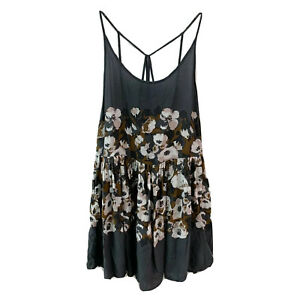 Intimately Free People Voile Floral Slip Dress Mini, Size S Gray Brown Swingy