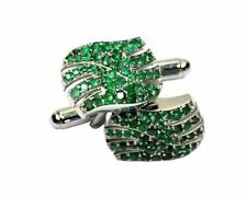 Natural Emerald Gemstone 18k White Gold Men's Cufflinks SR644