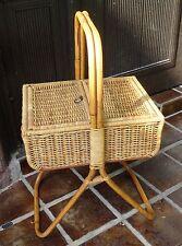mid century design 50's 60's - sewing basket - Bambus Nähtisch Nähkorb 50er 60er