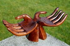 NEU Hand Paar breit abstrakt Holz Schale Skulptur Dekoration Hand07
