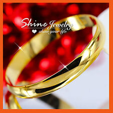 24K YELLOW GOLD FILLED CHUNCKY 10MM WIDE MENS WOMENS SOLID BANGLE BRACELET GIFT