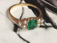 Victorian 9CT gold emerald pearl ring cluster ring antique Size N