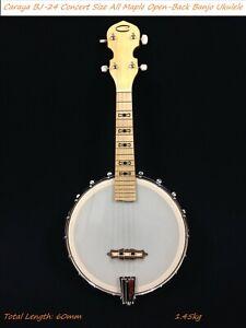 Caraya Concert Size All Maple Open-Back Banjo Ukulele,Banjolele,4-String |BJ-24|