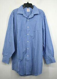 Brooks Brothers Men Blue Button-Up Long Sleeve Stretch Stripes Dress Shirt 16-32