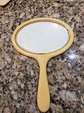 Vintage Bakélite Crème Portatif Biseauté Ovale Miroir Occasion Foire État