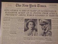 VINTAGE NEWSPAPER HEADLINE ~GEORGE KING VI DEAD DIES ELIZABETH QUEEN OF ENGLAND