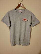 Vintage Fleer Baseball Trading Card T-Shirt gray Mens small 2-Sided college lane
