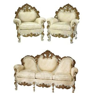 Sofa, Bergeres, Italian Rococo Style Carved and Gilt, Satin Brocade, Set of 3!