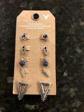 American Eagle Outfitters Earring Set, Silver Wirh Blue Stones, NWT