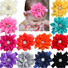 12Lot Baby Headbands Flower Hairbands Hair Bows with Rhinestones for Baby Girls