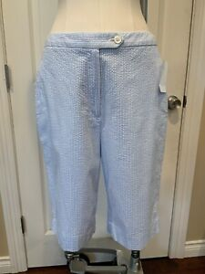Brooks Brothers Blue/White Striped Seer Sucker Bermuda Shorts, Size 6