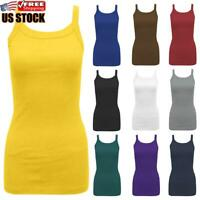 Womens Solid Sleeveless Vest Tops Ladies Summer Sports Gym Casual Tank Top Shirt