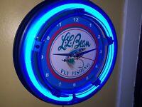 LL Bean Fly Fishing Rod Reel Creel Bait Shop Bar Man Cave Neon Clock Sign