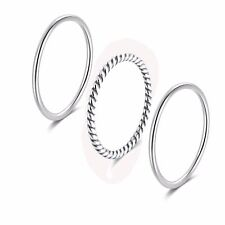 925 Sterling Silver Minimalist Stacking Midi Knuckle Pinky Rings Set Toe Rings