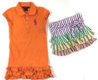 Ralph Lauren Lot of 2 Orange Size 6X 6 Girls Dress Ruffle Bottom Tennis Skirt