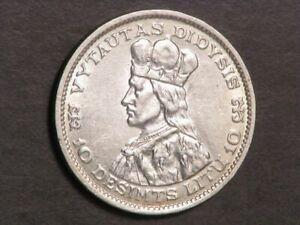 LITHUANIA 1936 10 Litu Vytautas the Great Silver AU-Unc