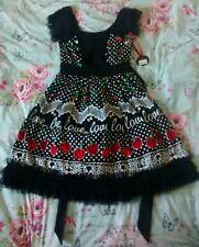 RRP £43 Rockabilly Gothic Lolita Cherry DRESS UK size 8 10 Pin Up 50s Goth PUG