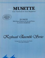 MUSETTE  BACH (Notebook for Anna Magdalena) Sheet Music Two Pianos Four Hands
