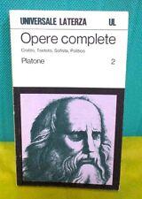 Platone OPERE COMPLETE vol. secondo - Universale Laterza 1971 I° ed.