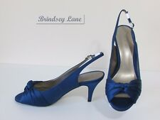 New Jacques Vert French Blue Sateen Knot Detail Shoes ~  Size 6/39 RRP £99  R2
