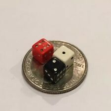 """Vintage Miniature 3/16"""" Tiny Dice Lot Of 3 Red Black White Doll House Accessory"""