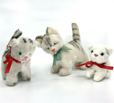 Vintage Plush Kitty Cat Family x 3 Germany 4in 5in 7in one glass eyes no ID